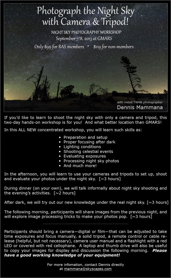 Night Sky Photo Workshop flier (GMARS-2013)